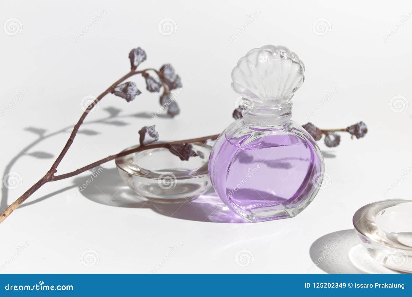 Garrafa de vidro do modelo da beleza cosmética roxa do perfume do cheiro da alfazema com a flora secada da flor no fundo branco