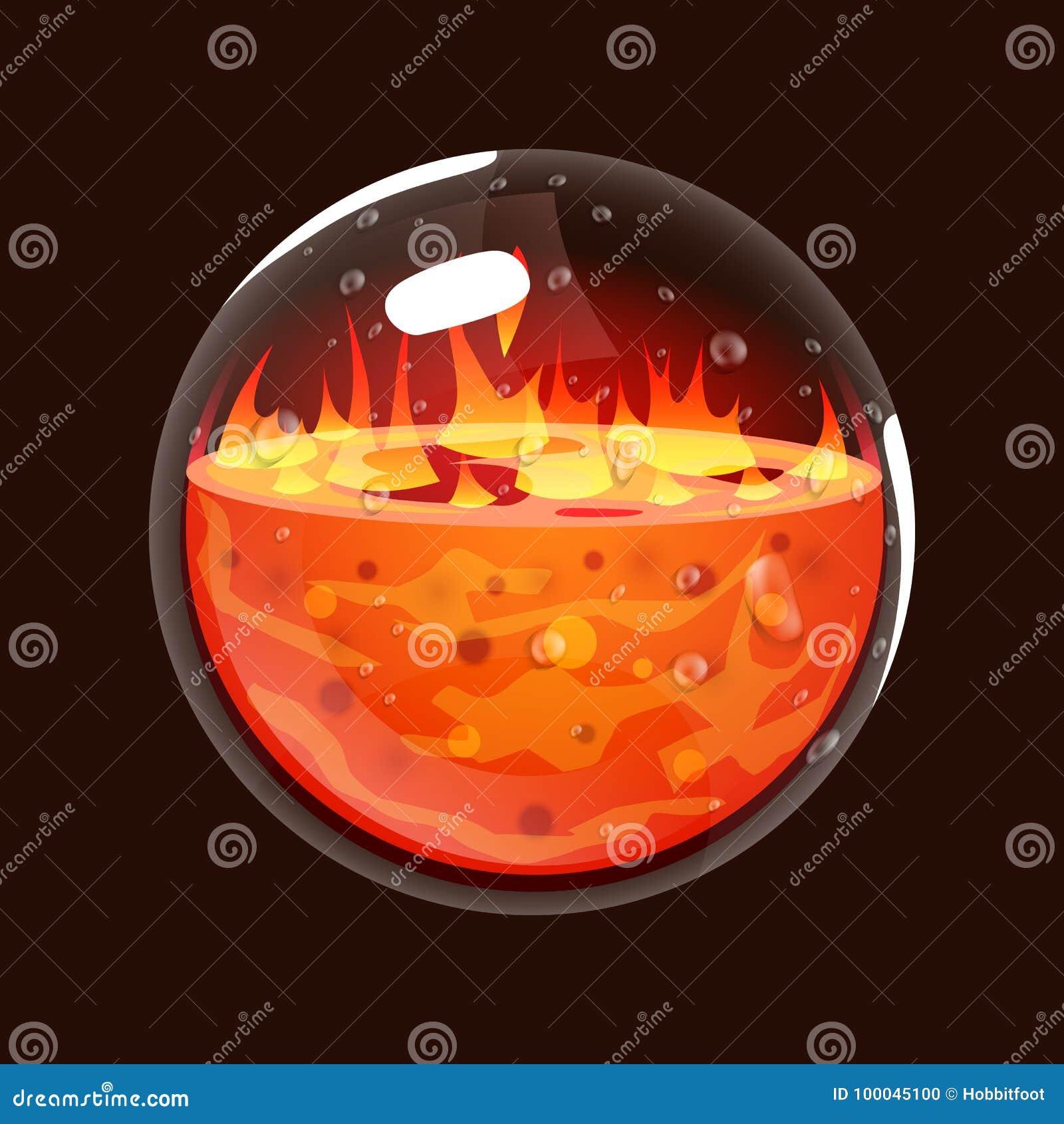 Garrafa do fogo Ícone do jogo da esfera mágica Relação para o jogo rpg ou match3 Variação grande Fogo, energia, lava, chama