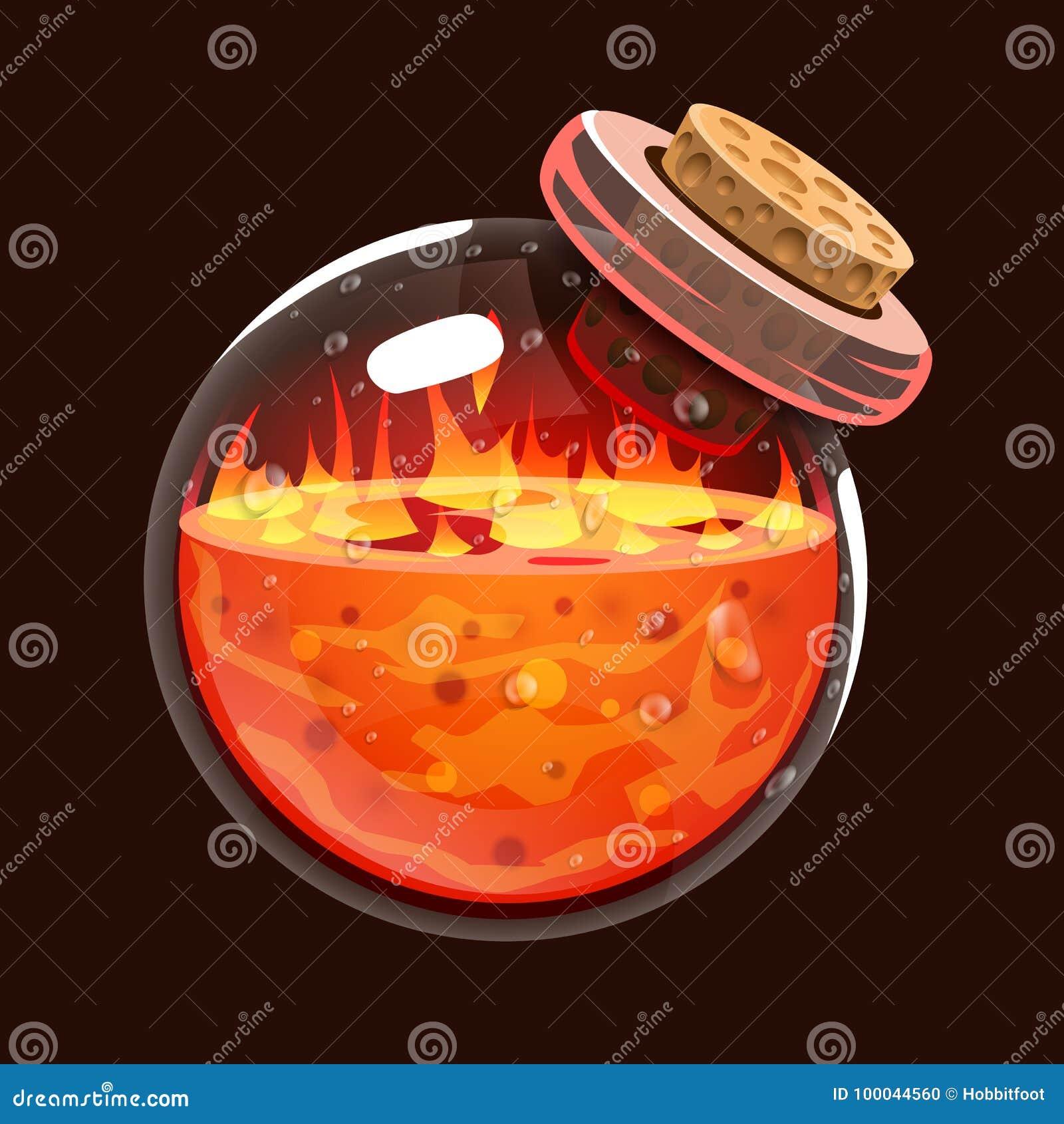 Garrafa do fogo Ícone do jogo do elixir mágico Relação para o jogo rpg ou match3 Fogo, energia, lava, chama