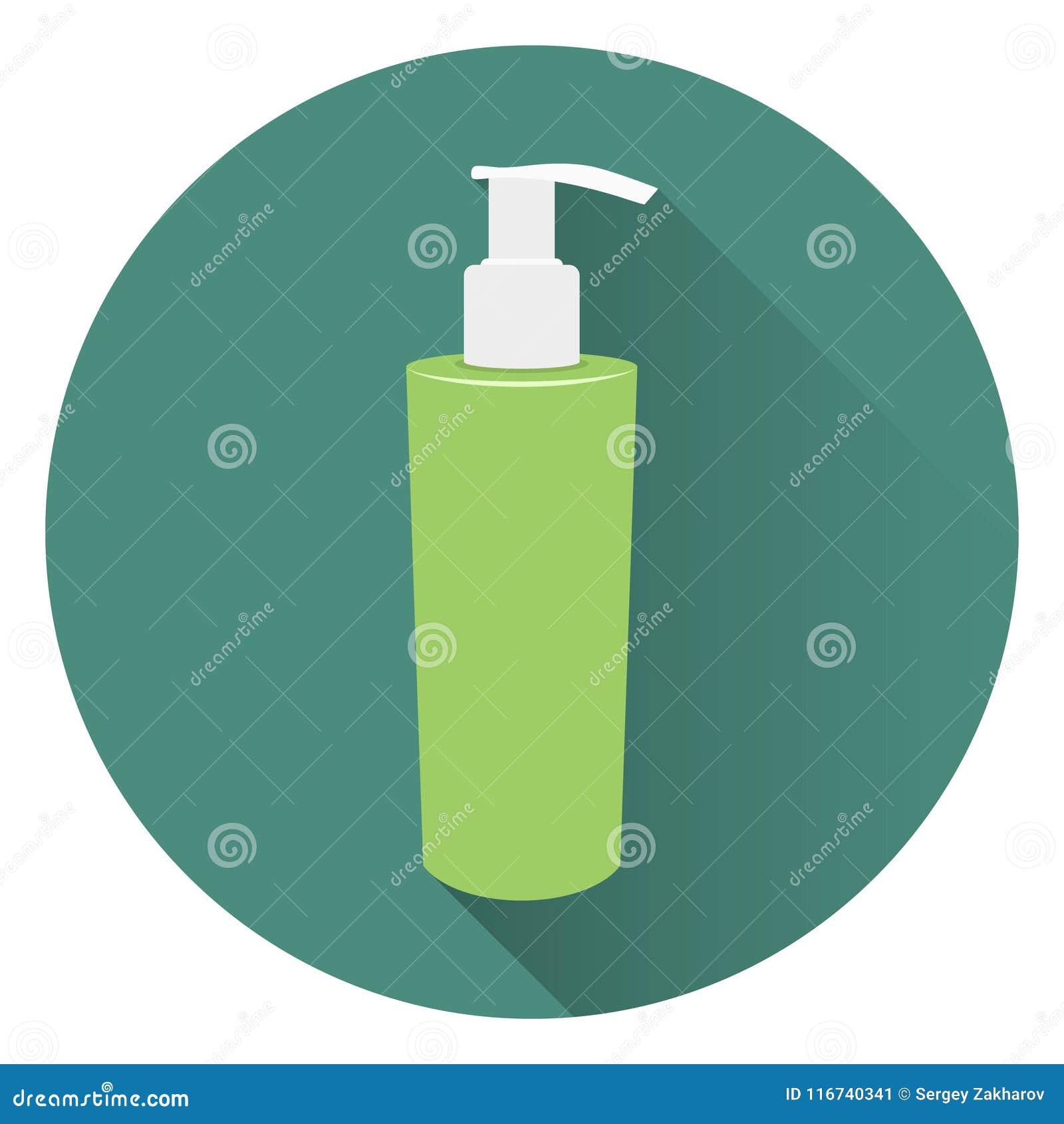 Garrafa do sabão líquido ou do creme de corpo Espuma para um banho Em um fundo verde circular com uma sombra Estilo liso, ícone