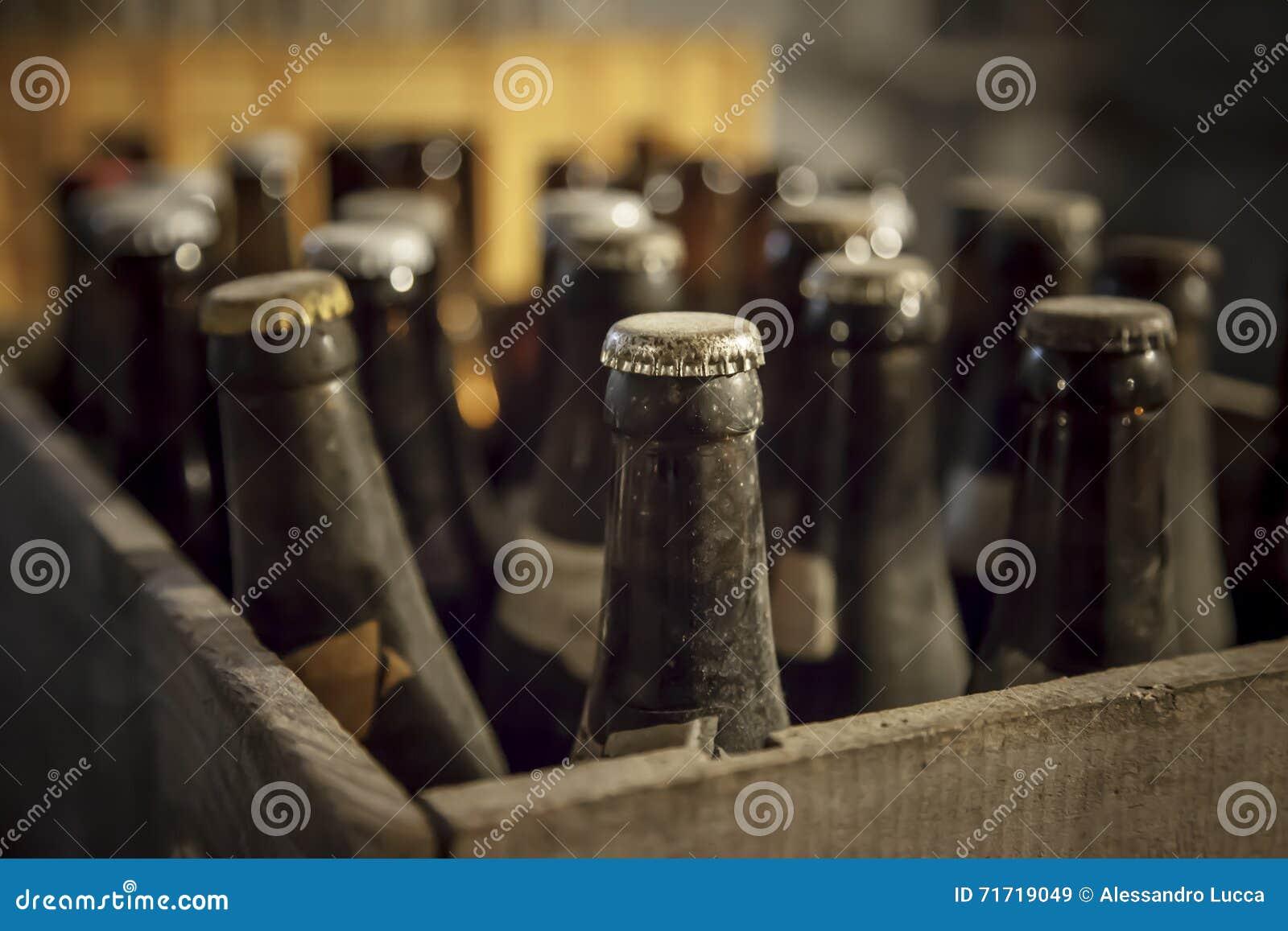 Garrafa empoeirada velha da cerveja