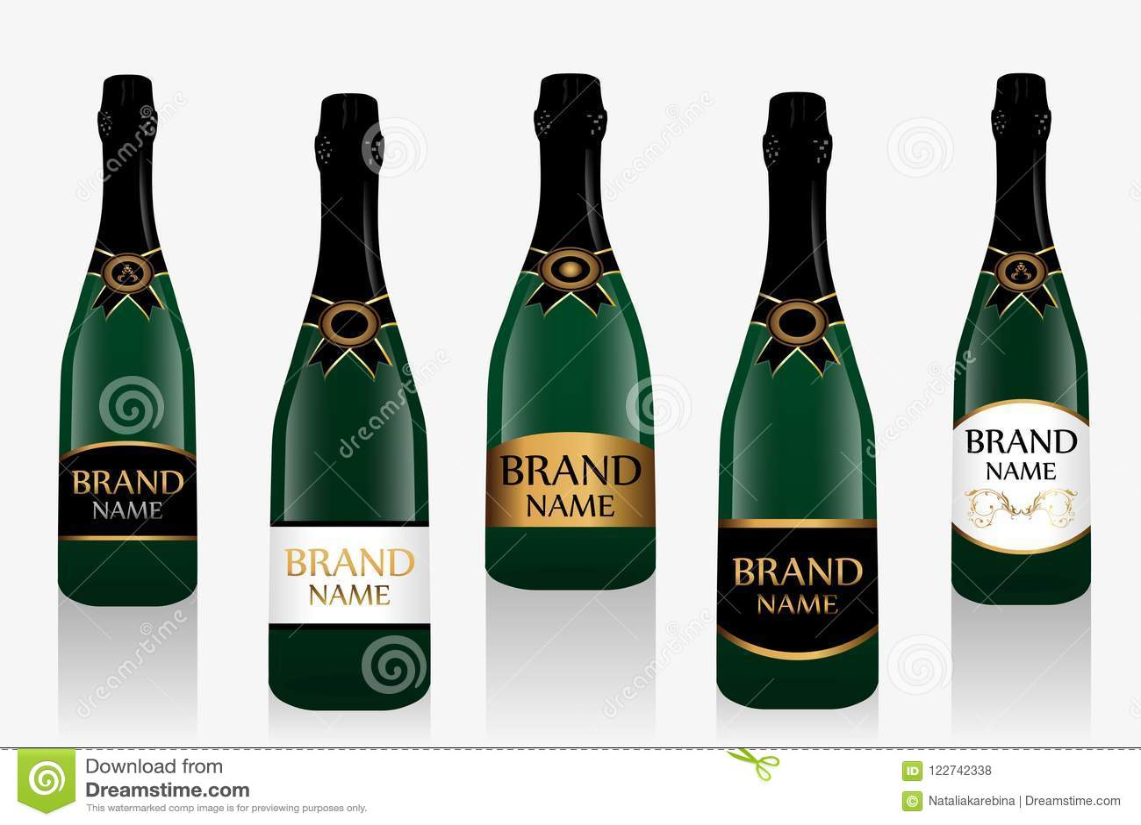 Garrafa ou vinho espumante de Champagne com etiqueta Coleção de cinco garrafas de vidro isoladas no fundo branco Vetor