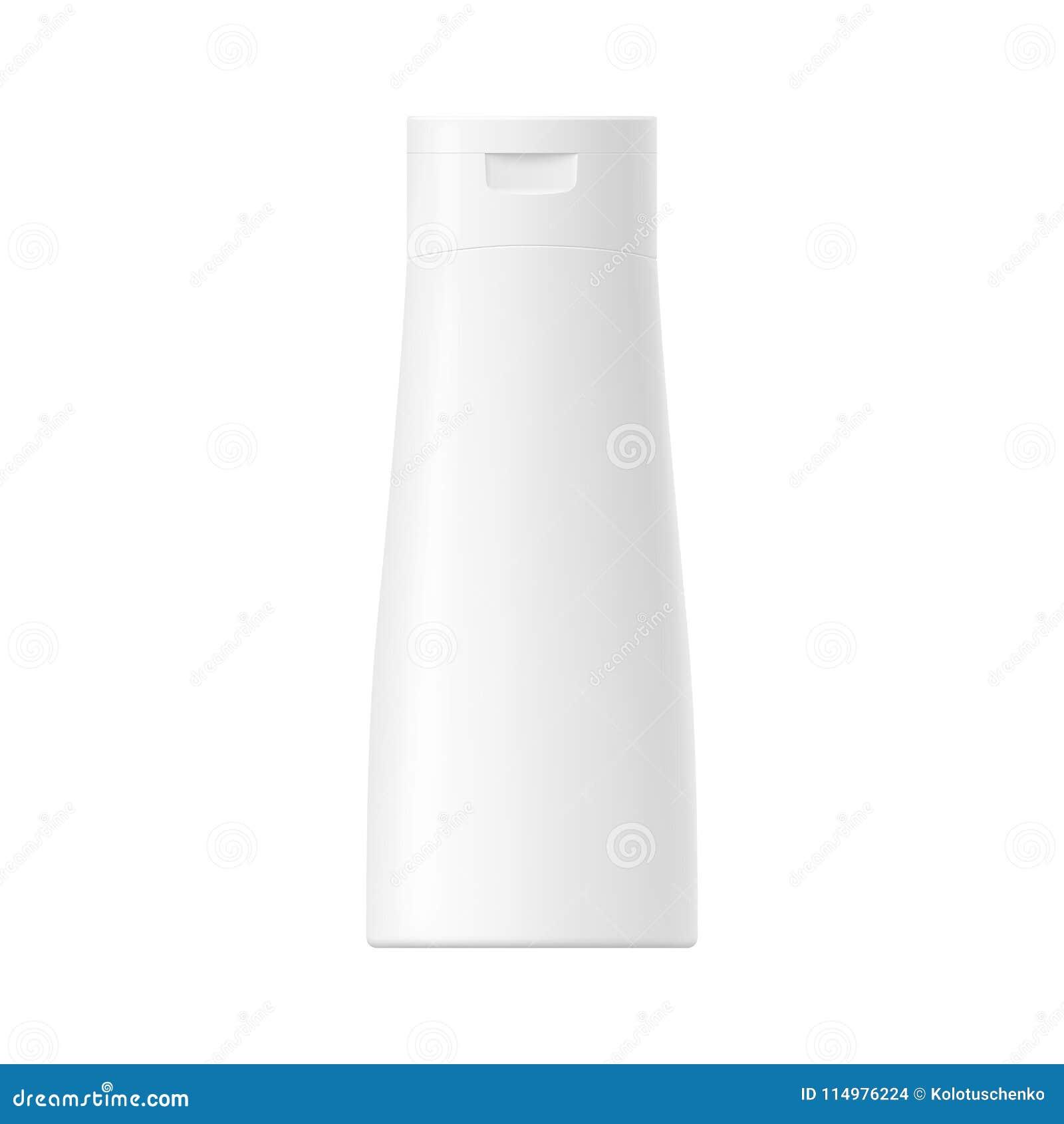 Garrafa plástica lustrosa branca do vetor com tampão