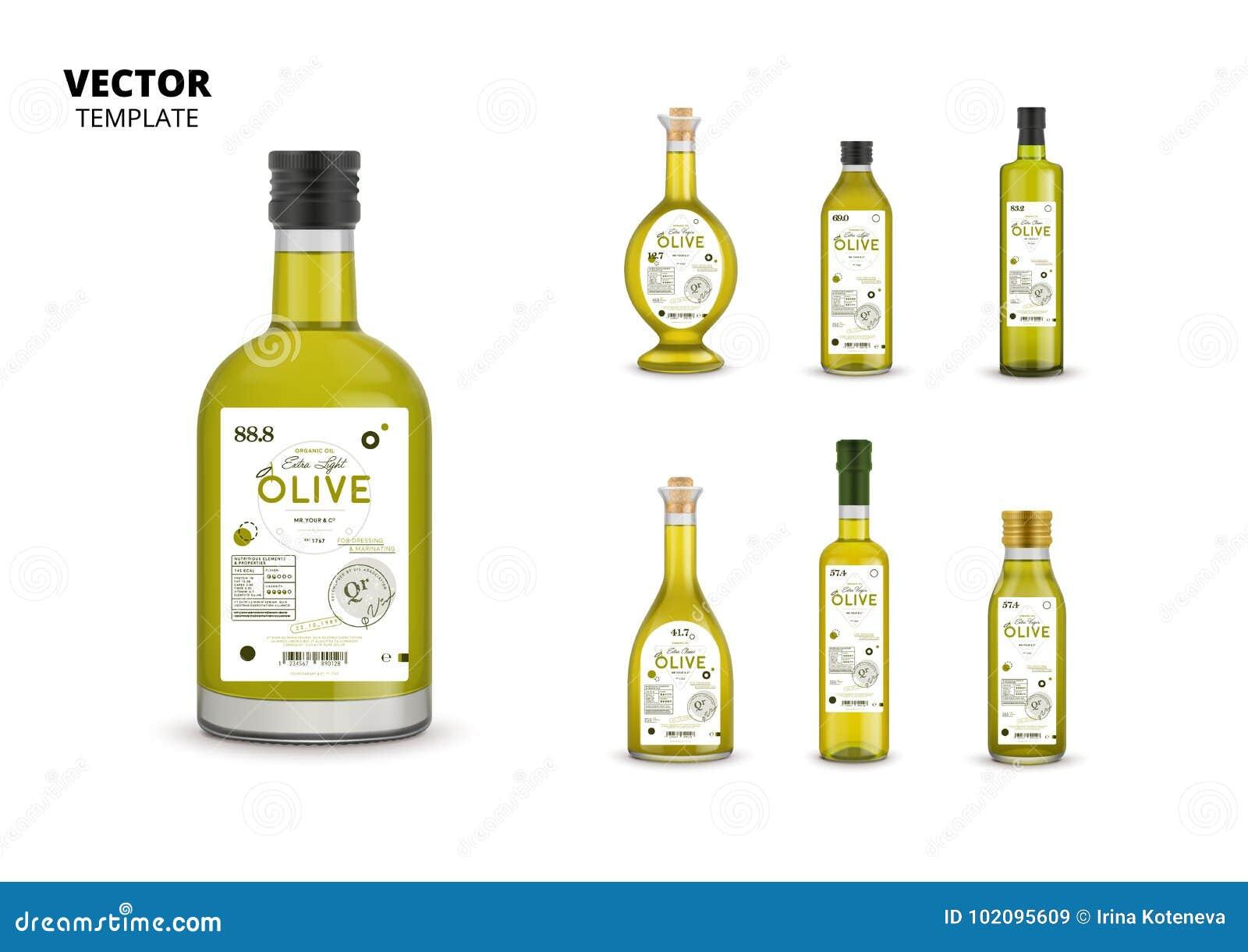 Garrafas de vidro do azeite virgem extra orgânico