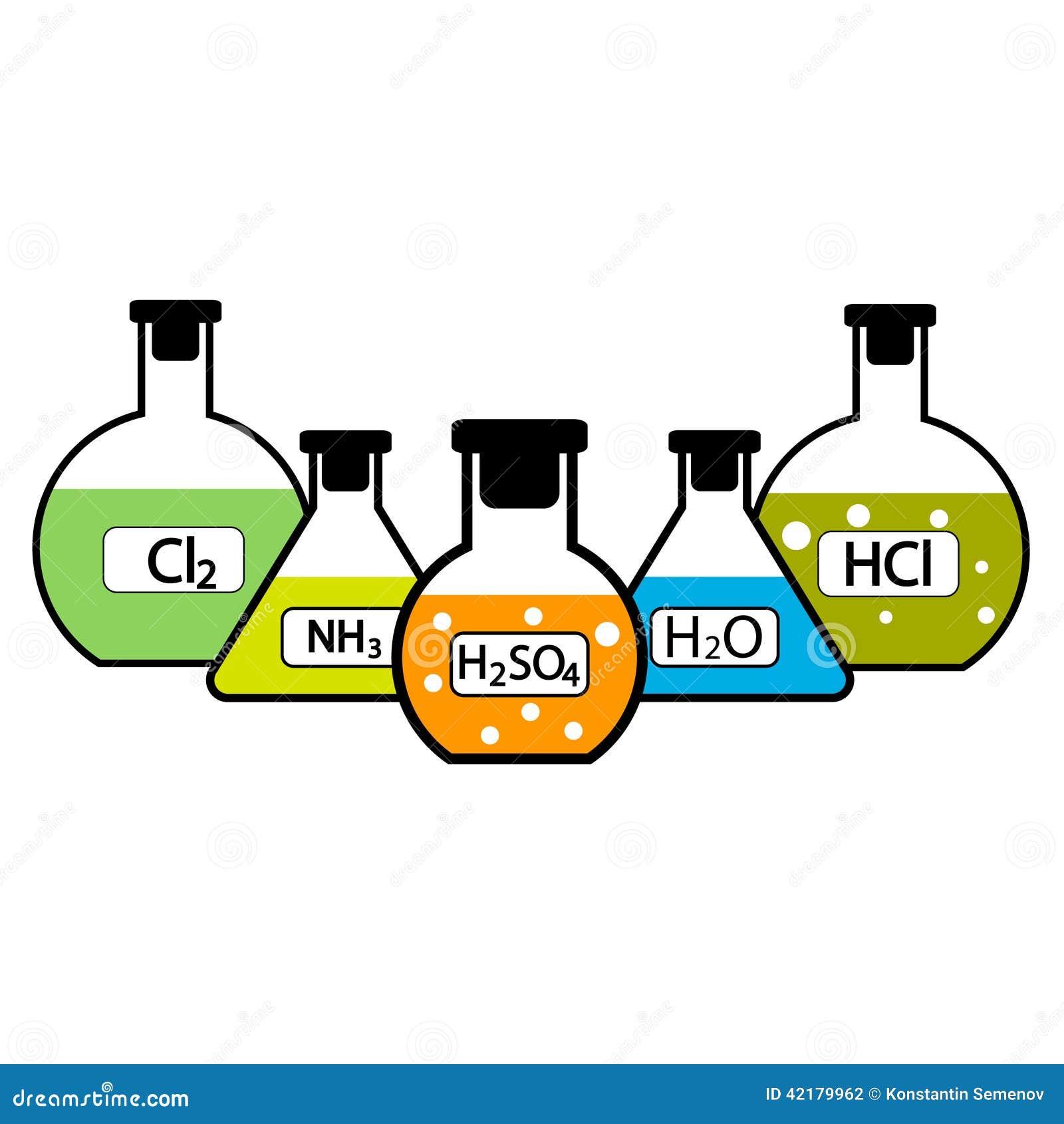 Garrafas do laboratório com produtos químicos
