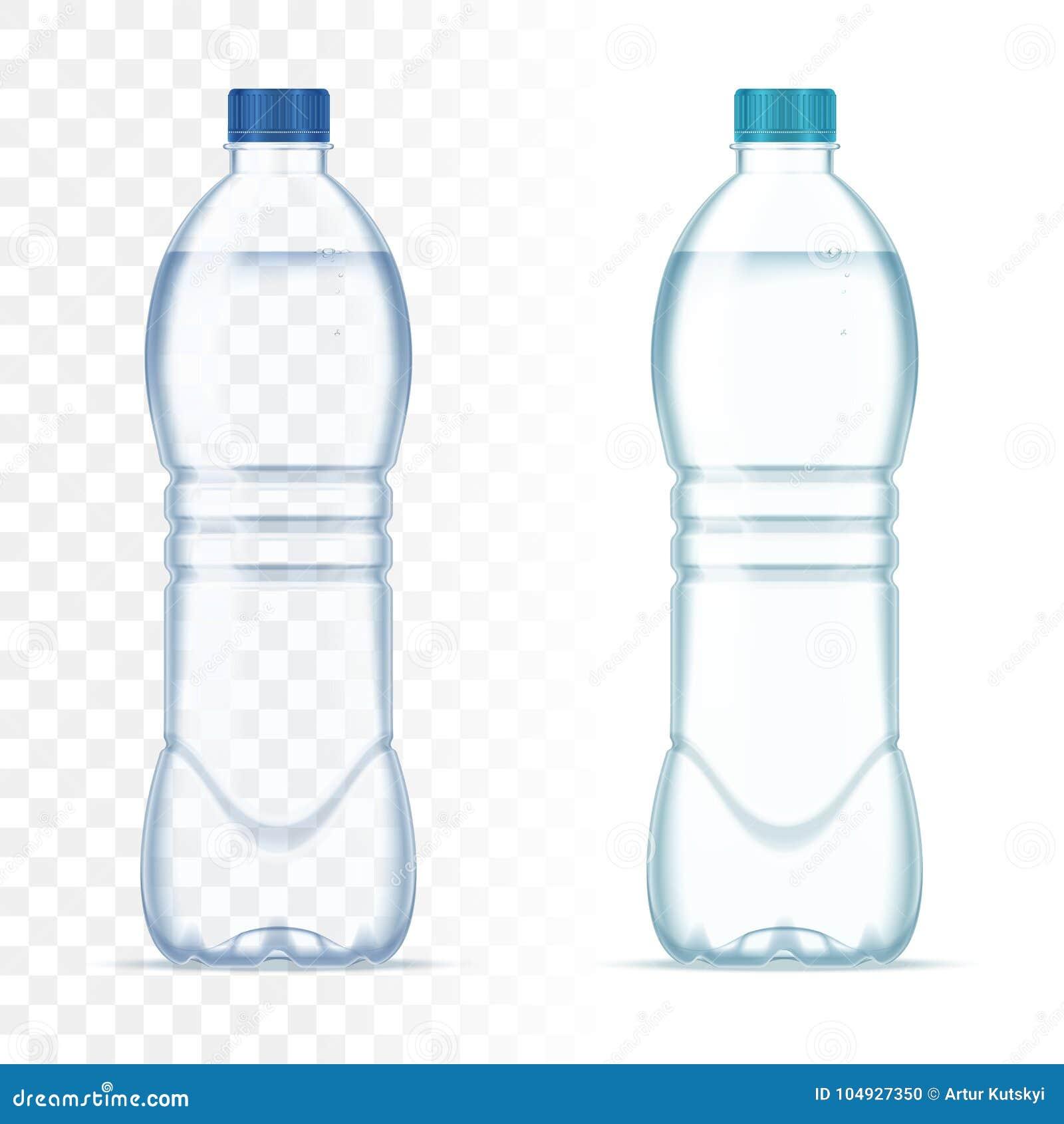Garrafas realísticas plásticas do vetor com água e o tampão azul no fundo transparente Modelo realístico da garrafa