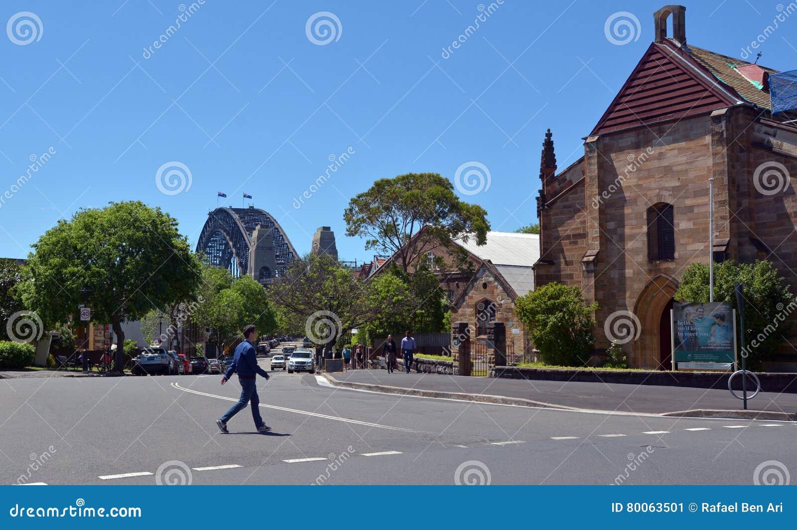 garrison church an den felsen in sydney australien redaktionelles foto bild von szene. Black Bedroom Furniture Sets. Home Design Ideas