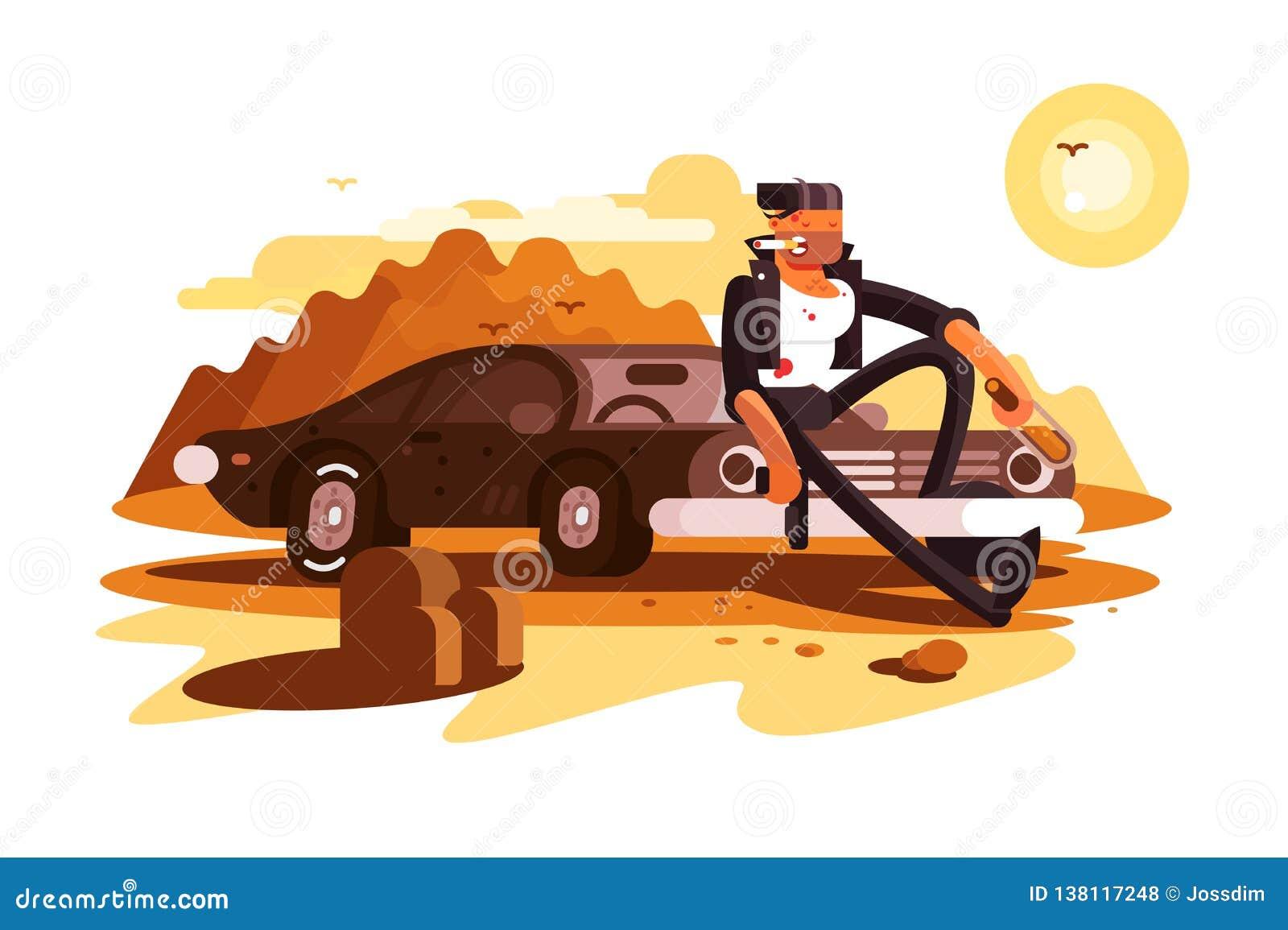 Gars dur frais s asseyant sur la voiture et le tabagisme