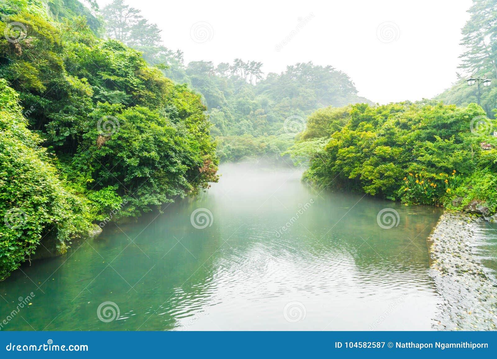 Garten-Park an Cheonjiyeon-Wasserfällen in Jeju-Insel