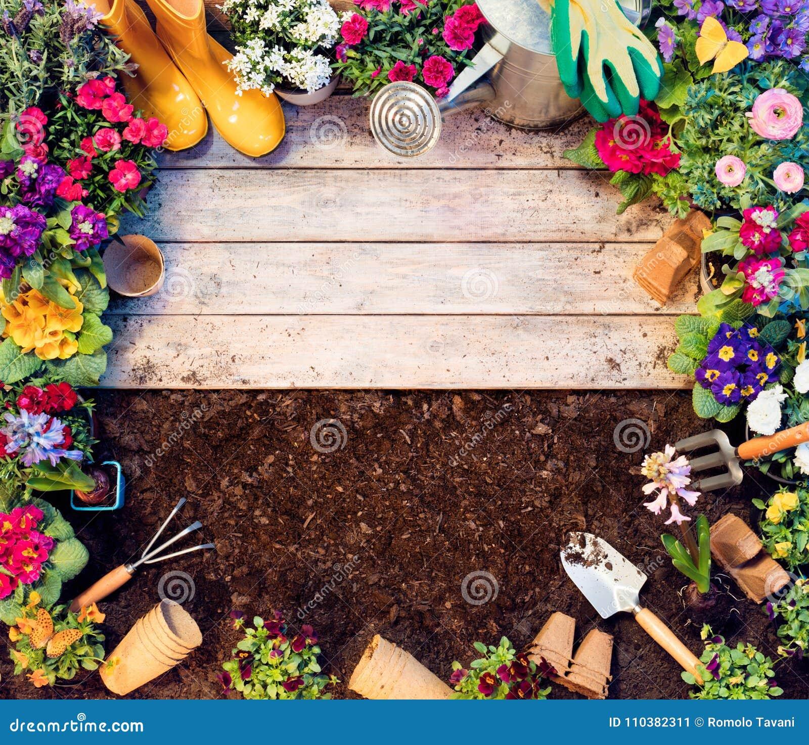 Gartenarbeit-Rahmen - Werkzeuge Und Blumentöpfe Auf Holztisch ...