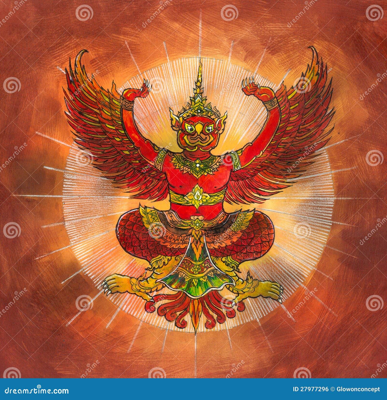 garuda  thai mythology eagle or bird stock illustration