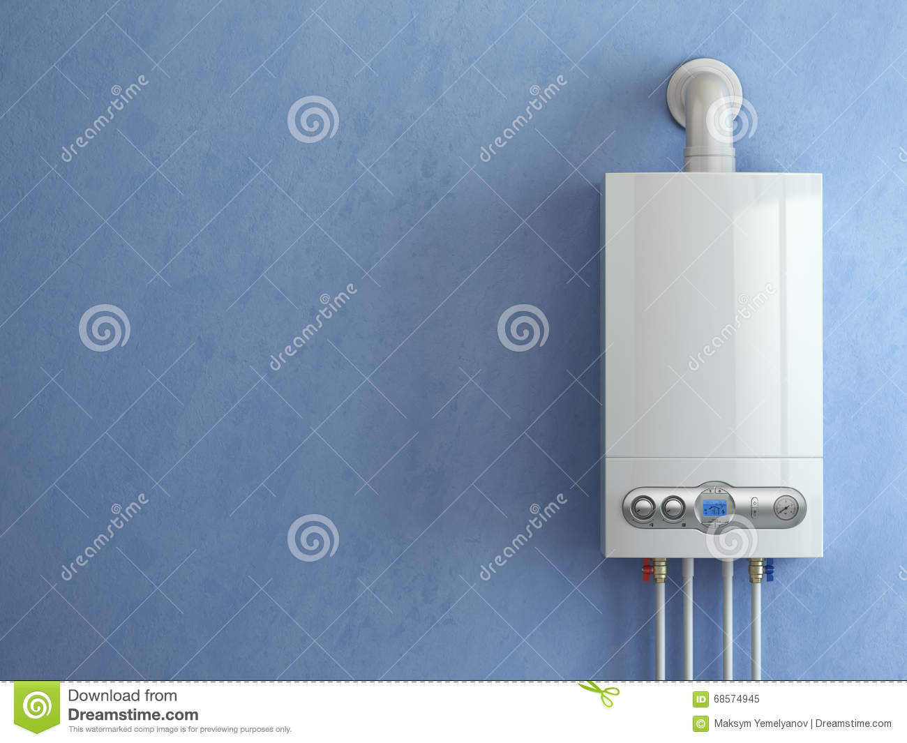 Gas Boiler On Blue Background. Gas Boiler Home Heating. Stock ...