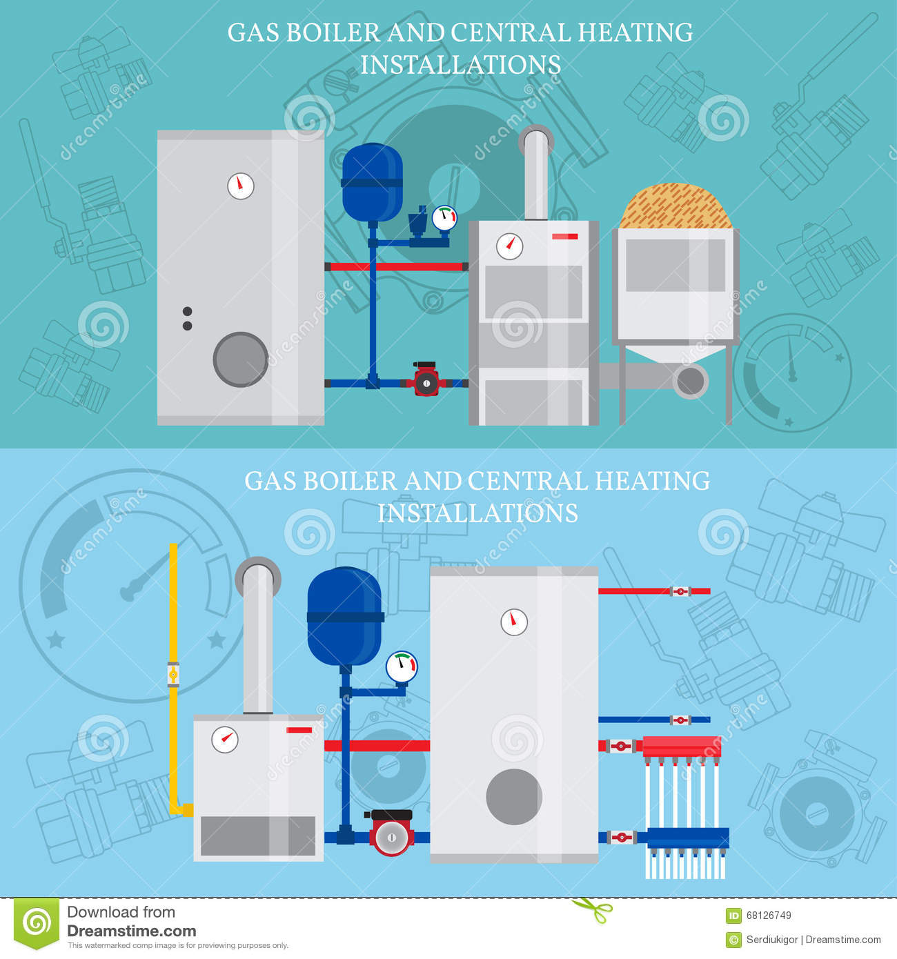 Gas Boiler And Central Heating Installations Stock Vector ...