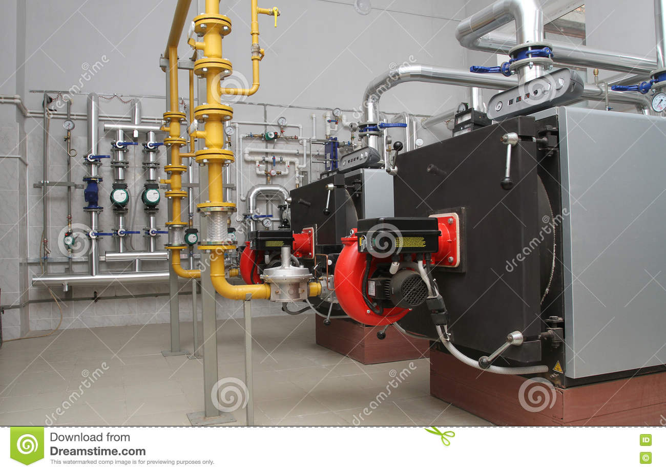 Gas boiler-house stock image. Image of work, warm, pipes - 76325803