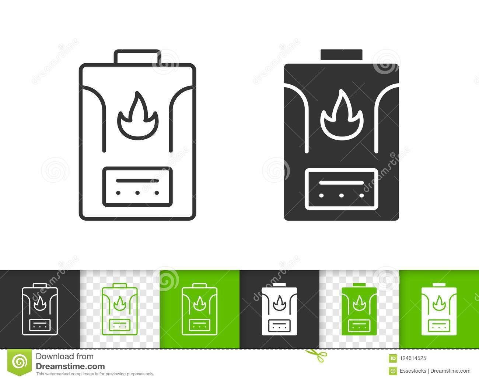 Gas Boiler Simple Black Line Vector Icon Stock Vector - Illustration ...