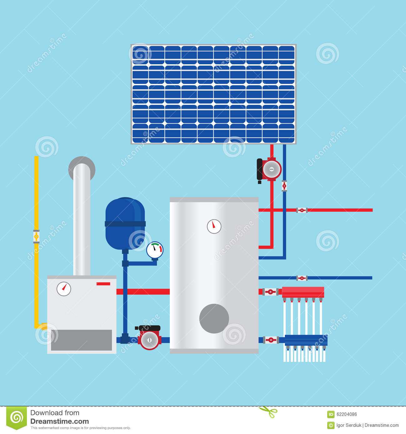 gas boiler and solar panels eco house stock vector. Black Bedroom Furniture Sets. Home Design Ideas