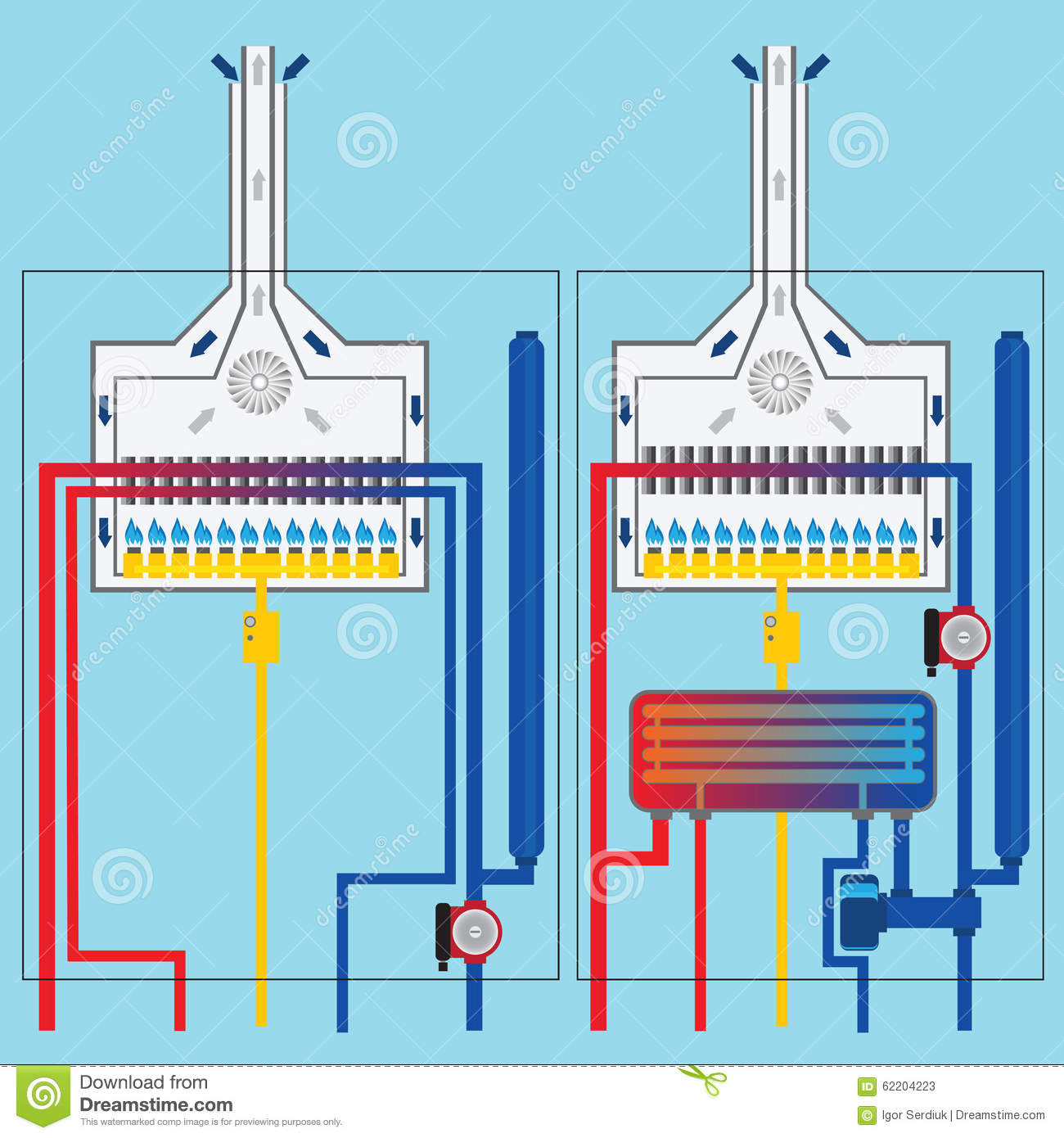 Gas Boilers With Heat Exchanger. Stock Vector - Illustration of ...
