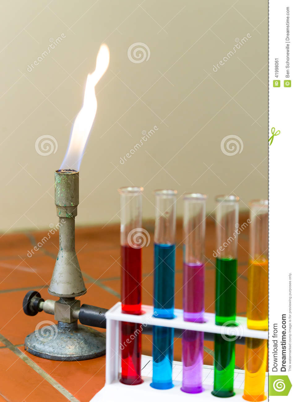 Gas burner with colored test tubes