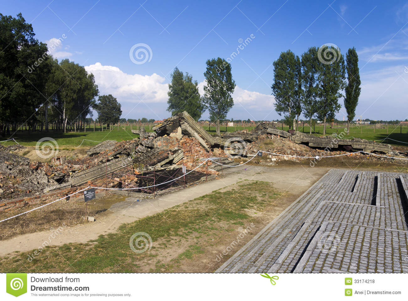 Gas chamber 3 ruins in the auschwitz ii birkenau editorial for Auschwitz chambre a gaz