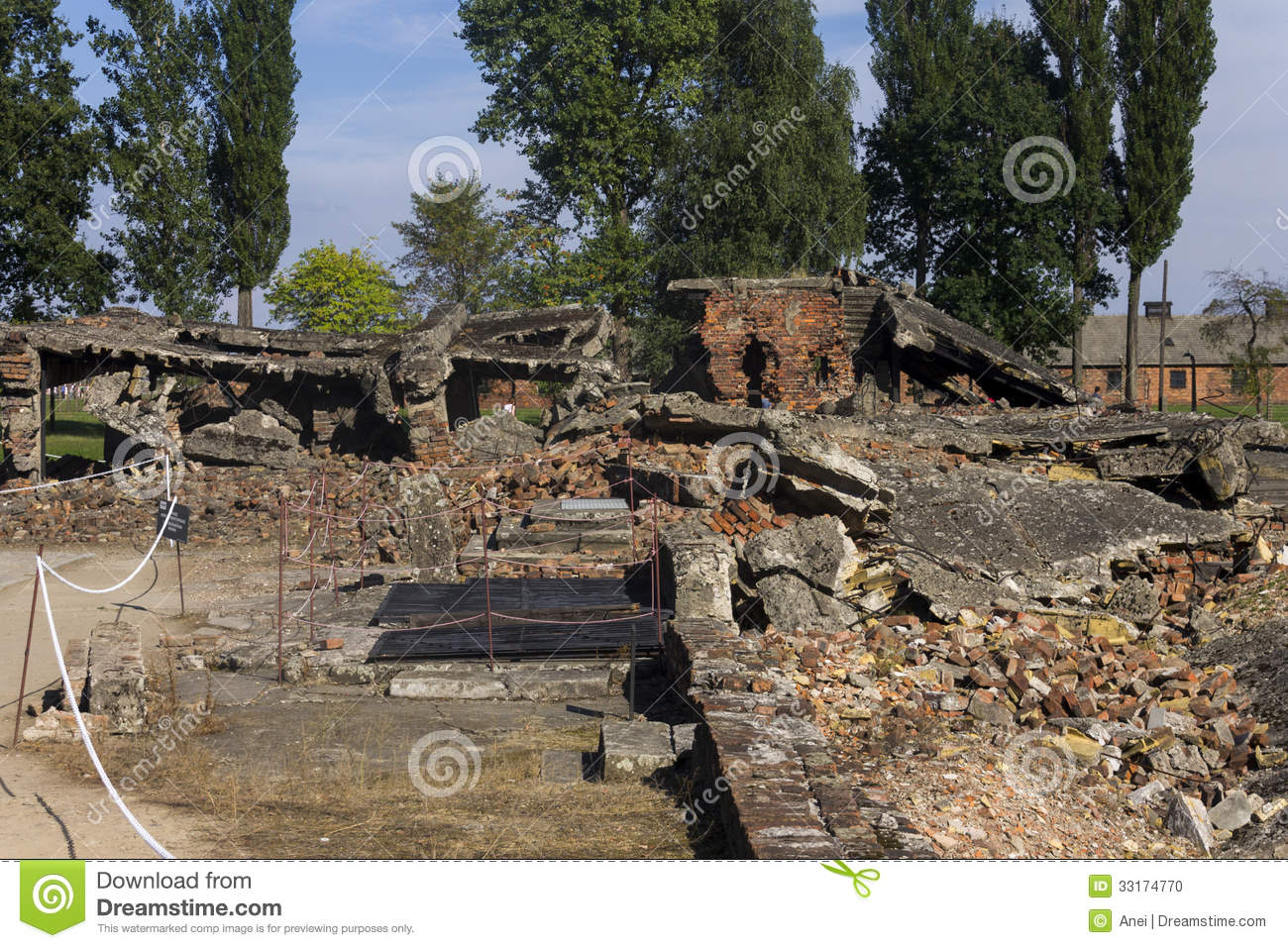 Gas chamber 2 ruins in the auschwitz ii birkenau editorial for Auschwitz chambre a gaz