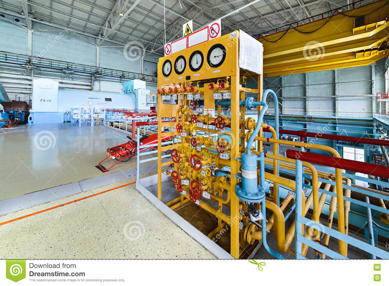 Gas distribution position in a nuclear power plant the turbine room.