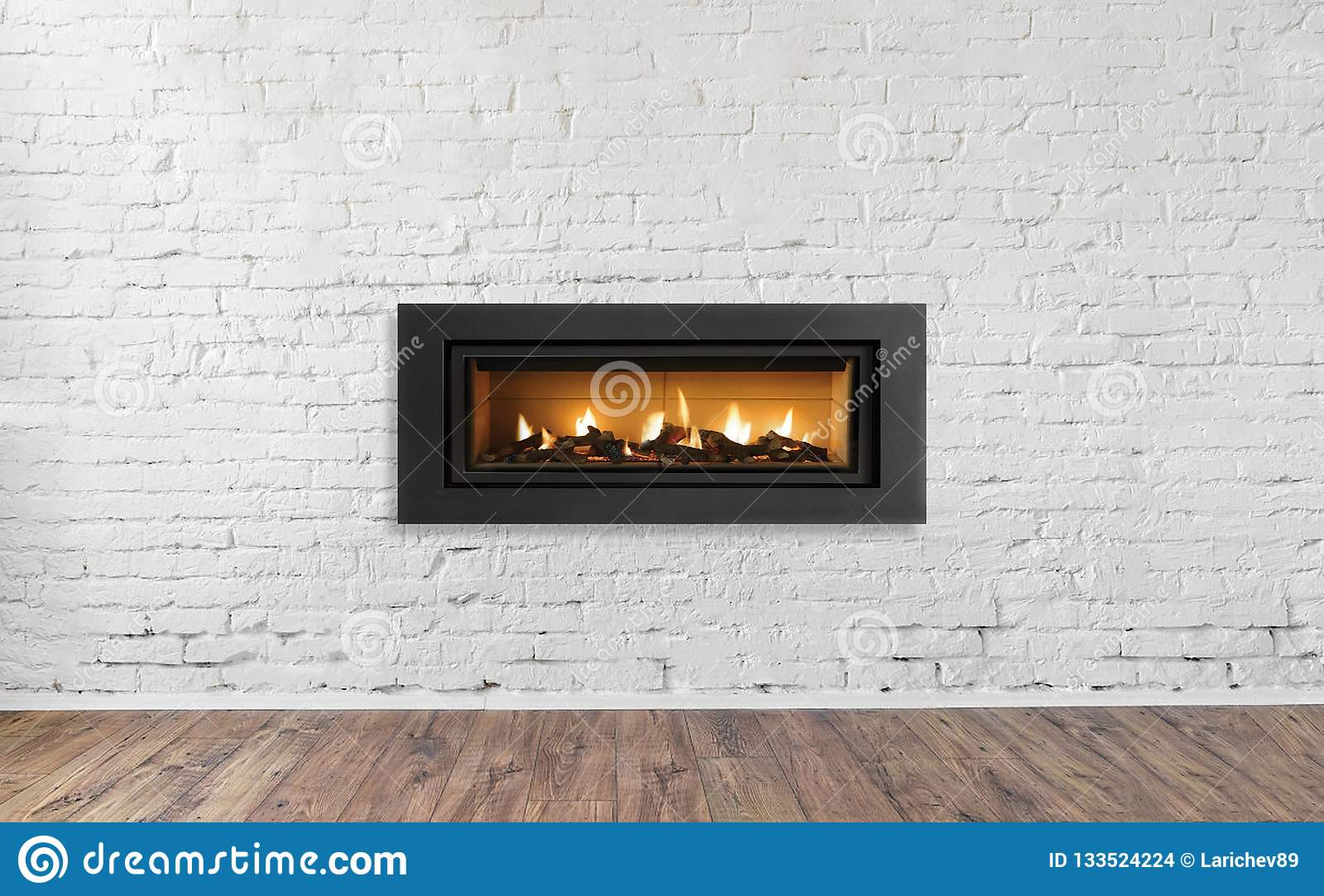 Gas Fireplace On White Brick Wall In Bright Empty Living Room Interior Of House Stock Photo Image Of Beautiful Concrete 133524224