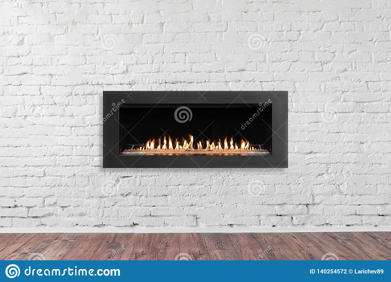 Gas Fireplace On White Brick Wall In Bright Empty Living Room Interior Of House Stock Photo Image Of Background Copy 140254572