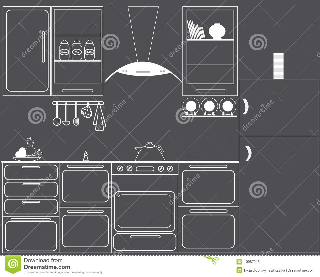 The Gas Hob Kitchen Stock Vector Illustration Of Fruit 10987215 Cooktop Schematic