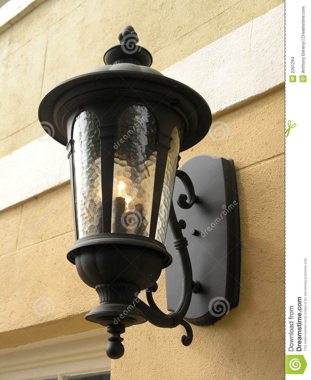 Gas Lamp Fixture Yellow Wall Stock Photo Image Of