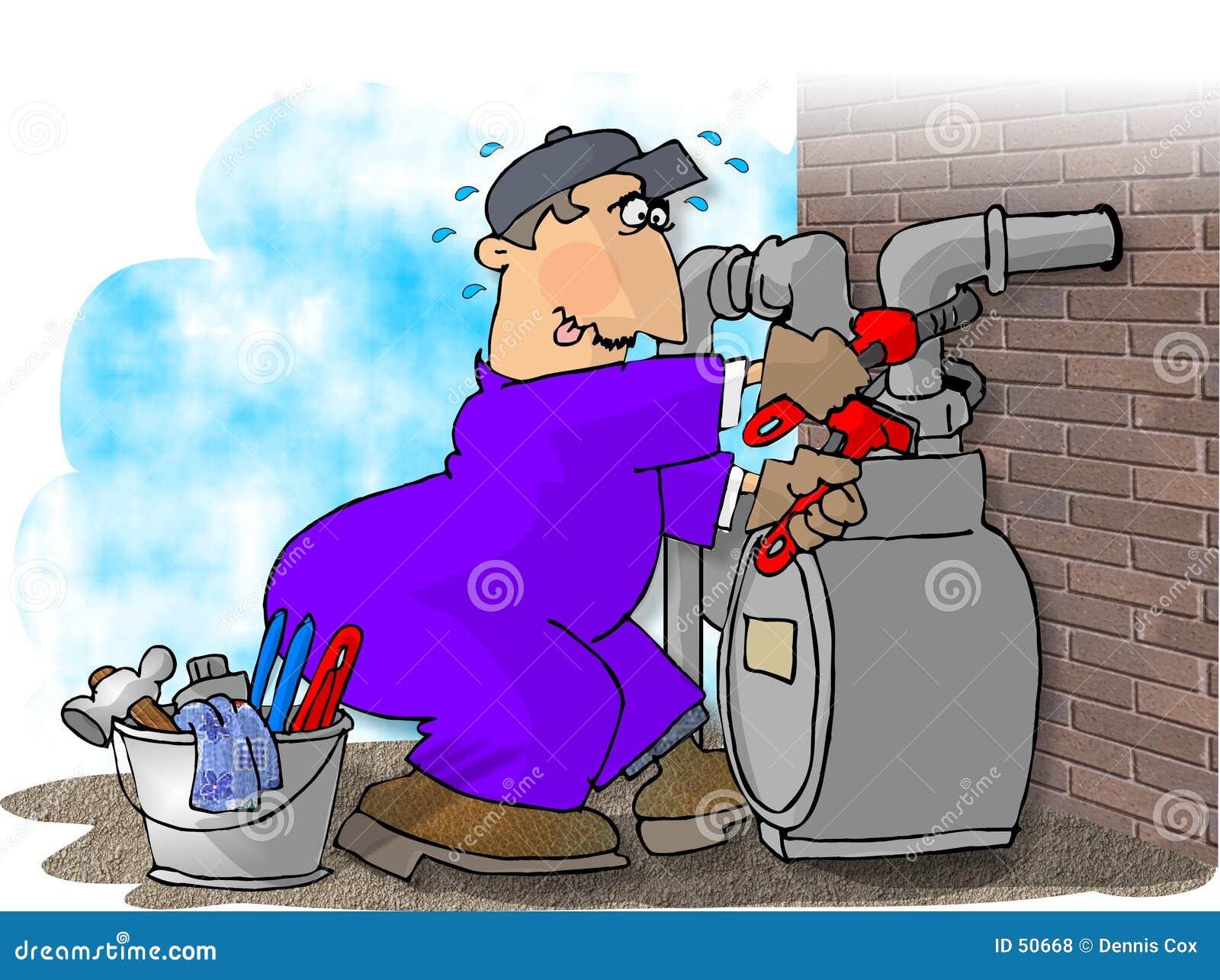 Gas man changing a meter