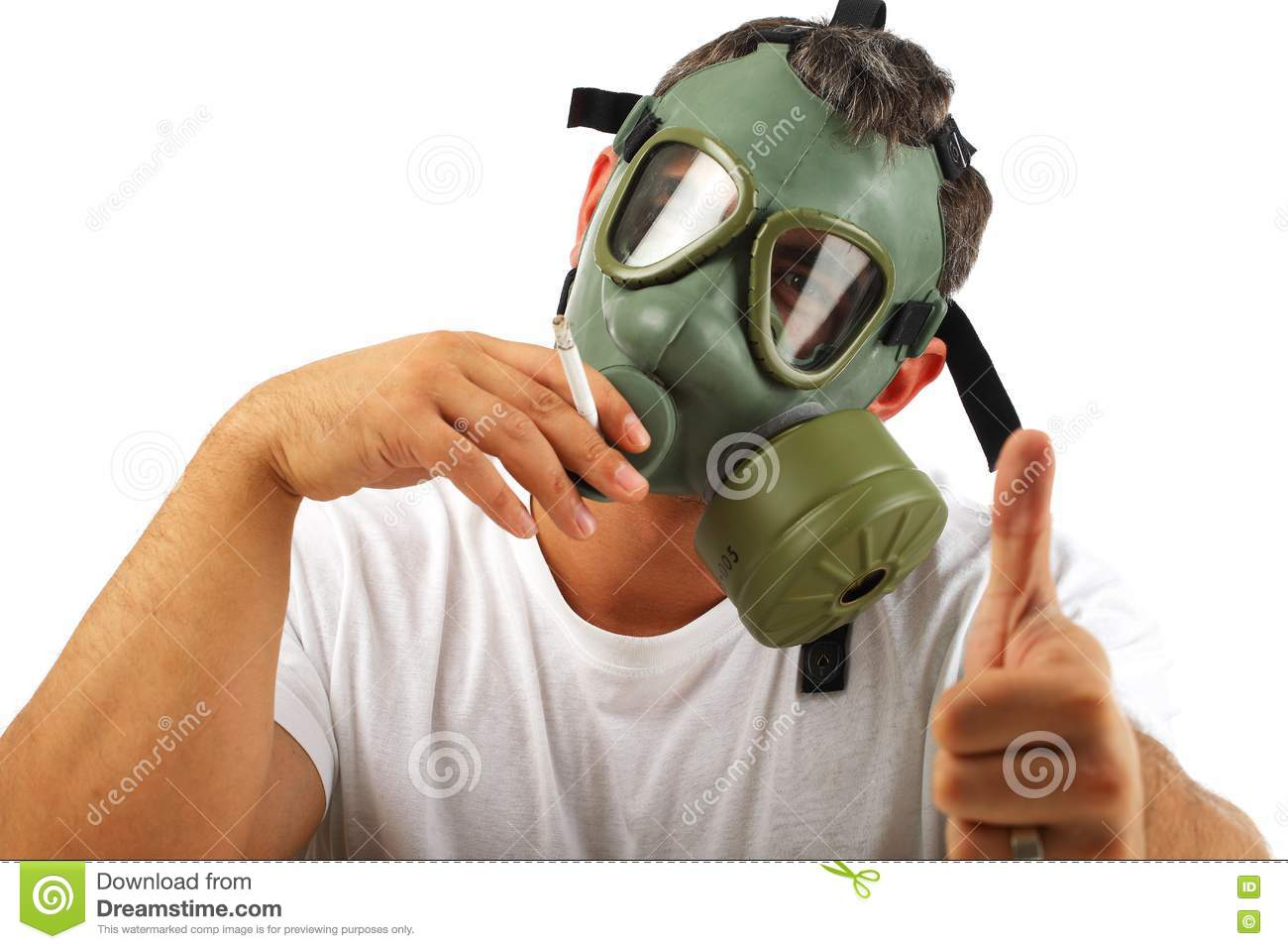 gas mask man smoking stock image  image of poison