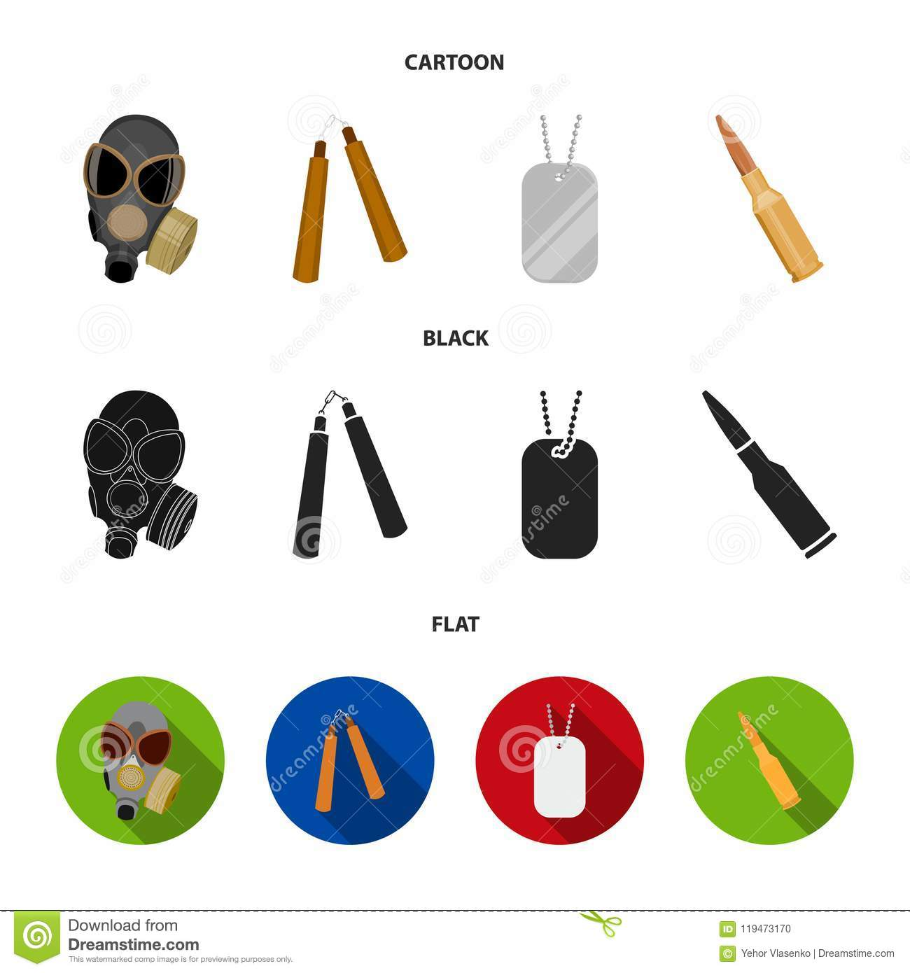 Gas mask, nunchak, ammunition, soldier token. Weapons set collection icons in cartoon,black,flat style vector symbol
