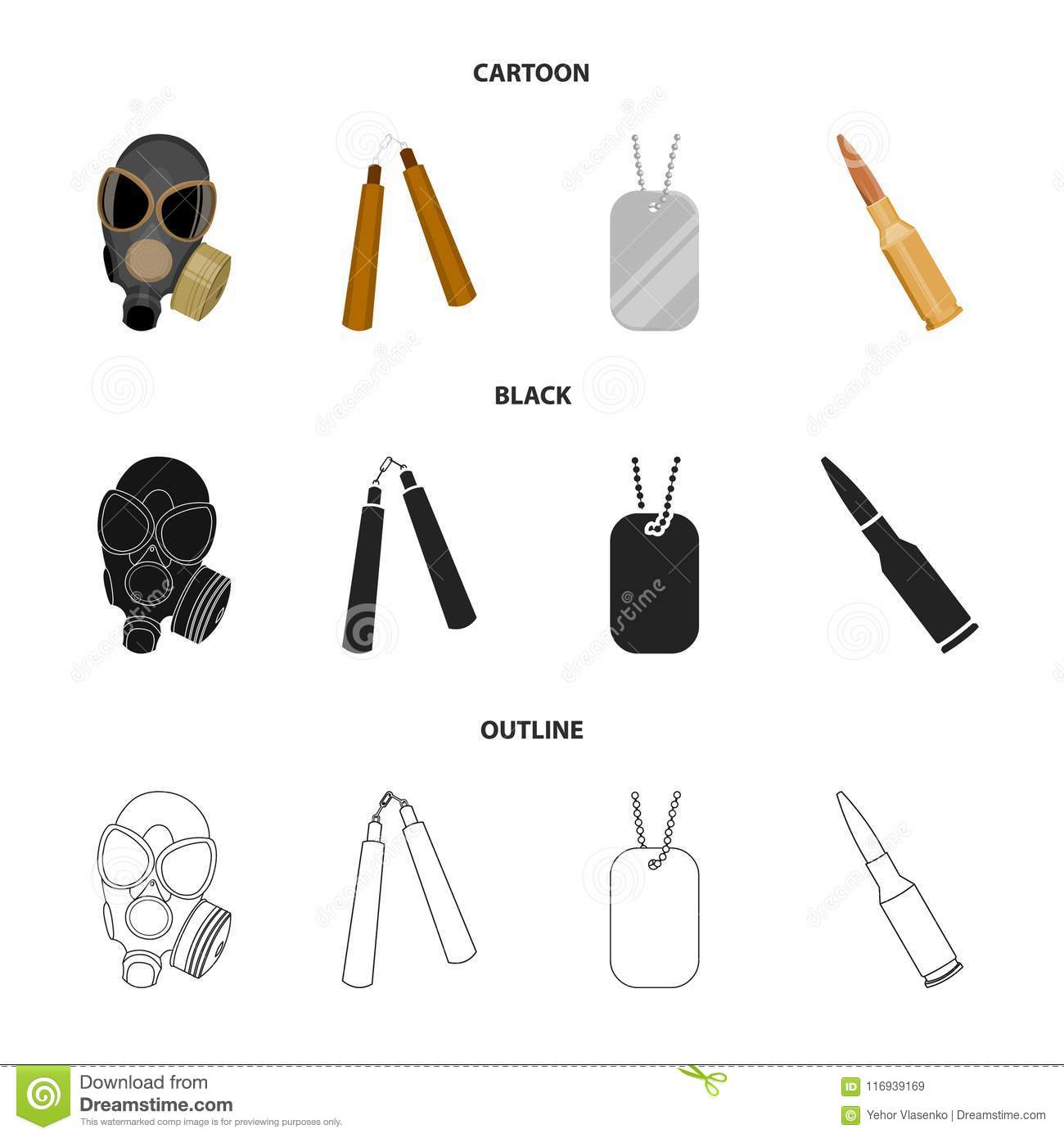 Gas mask, nunchak, ammunition, soldier token. Weapons set collection icons in cartoon,black,outline style vector symbol