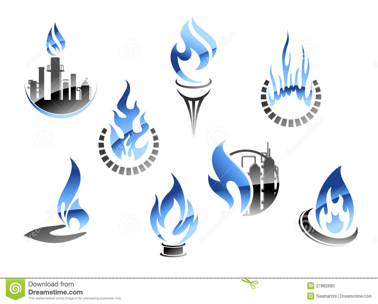 Gas And Oil Industry Symbols Stock Vector Illustration Of Fire