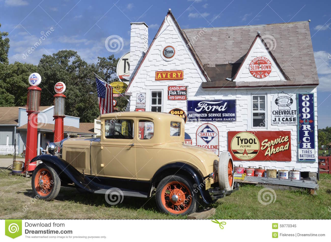 Gas And Oil Signs On A Filling Station Editorial Image