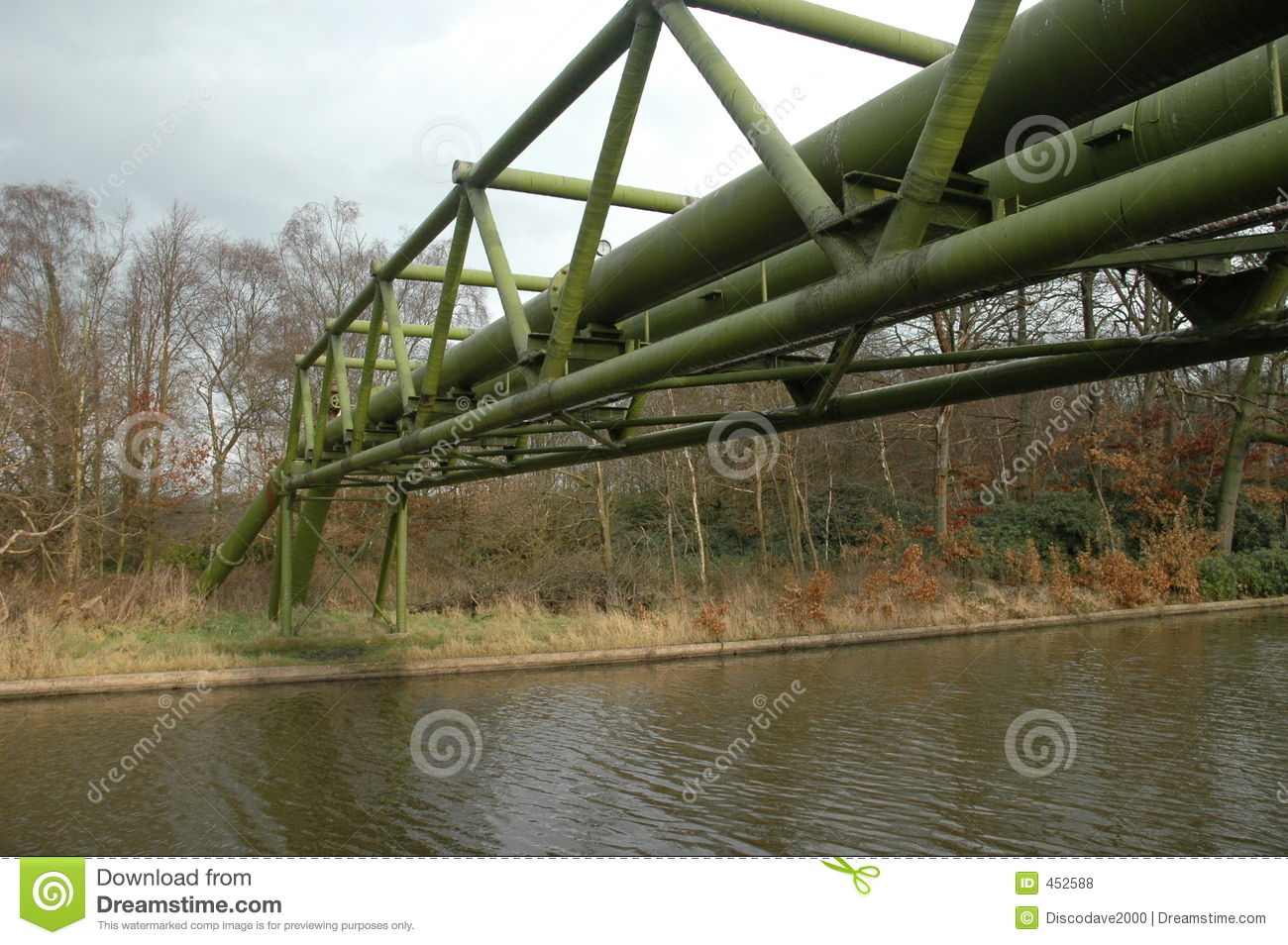 Gas pipeline over a canal
