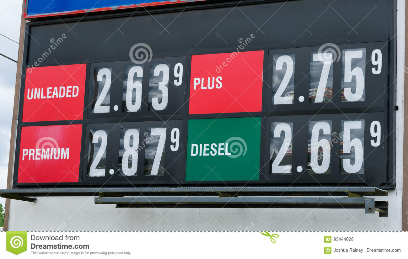 Gas Price Reader Sign At Fueling Station Stock Photo - Image of cost