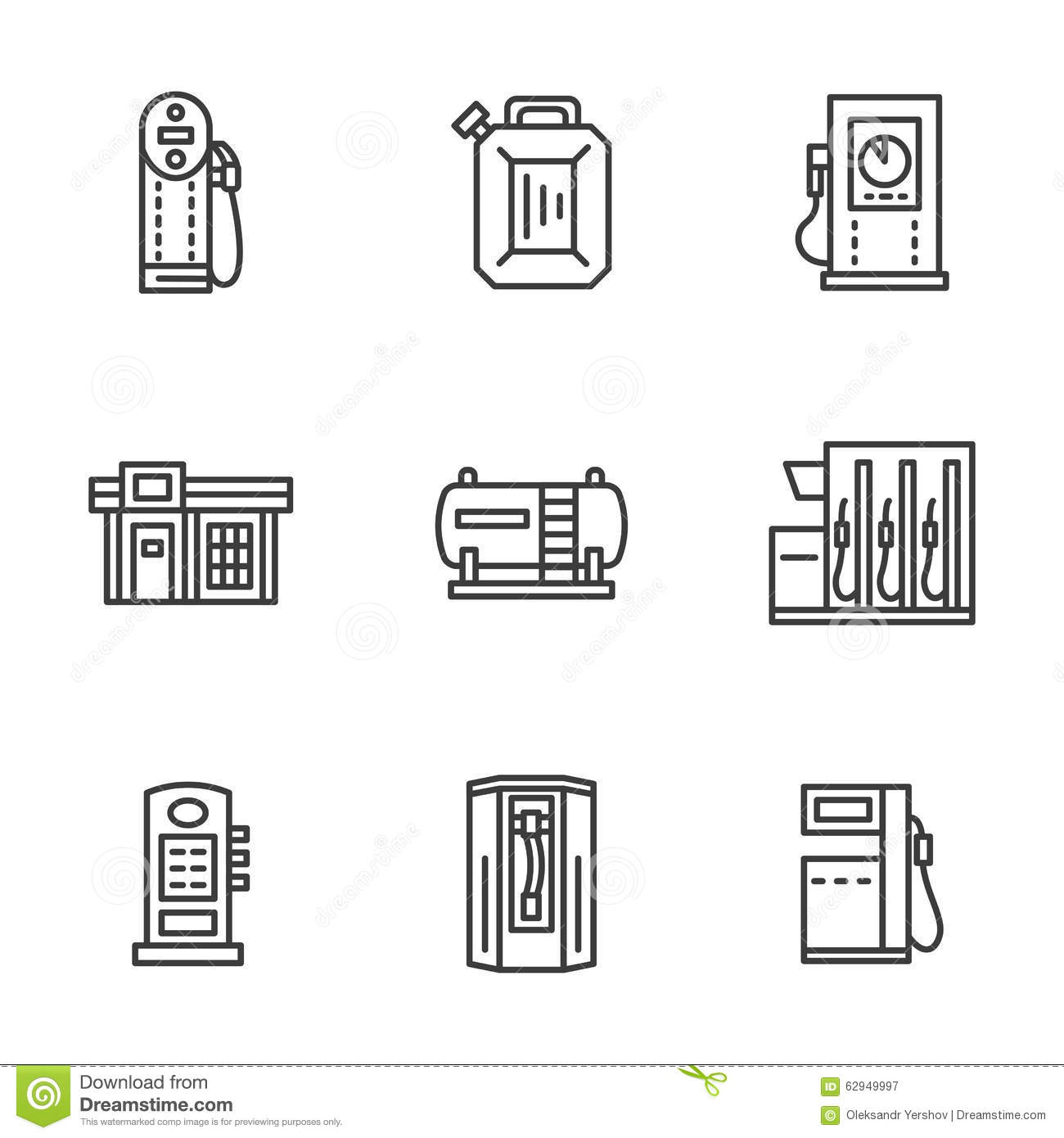 gas station black line icons collection stock illustration