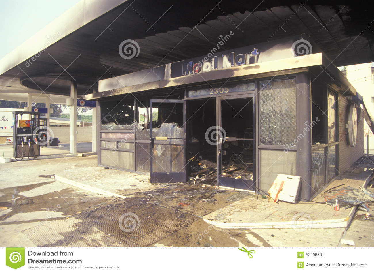 Gas Station Burned Out During 1992 Riots, South Central Los