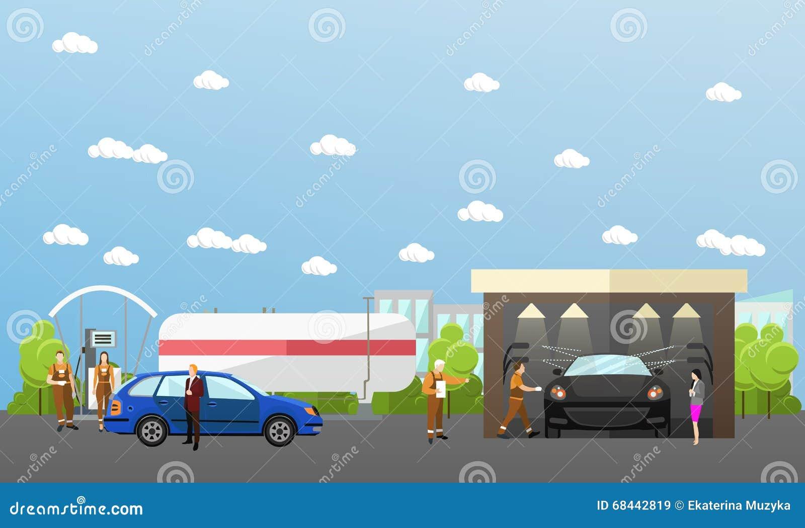 Car Wash Service 2 Flat Banners Cartoon Vector