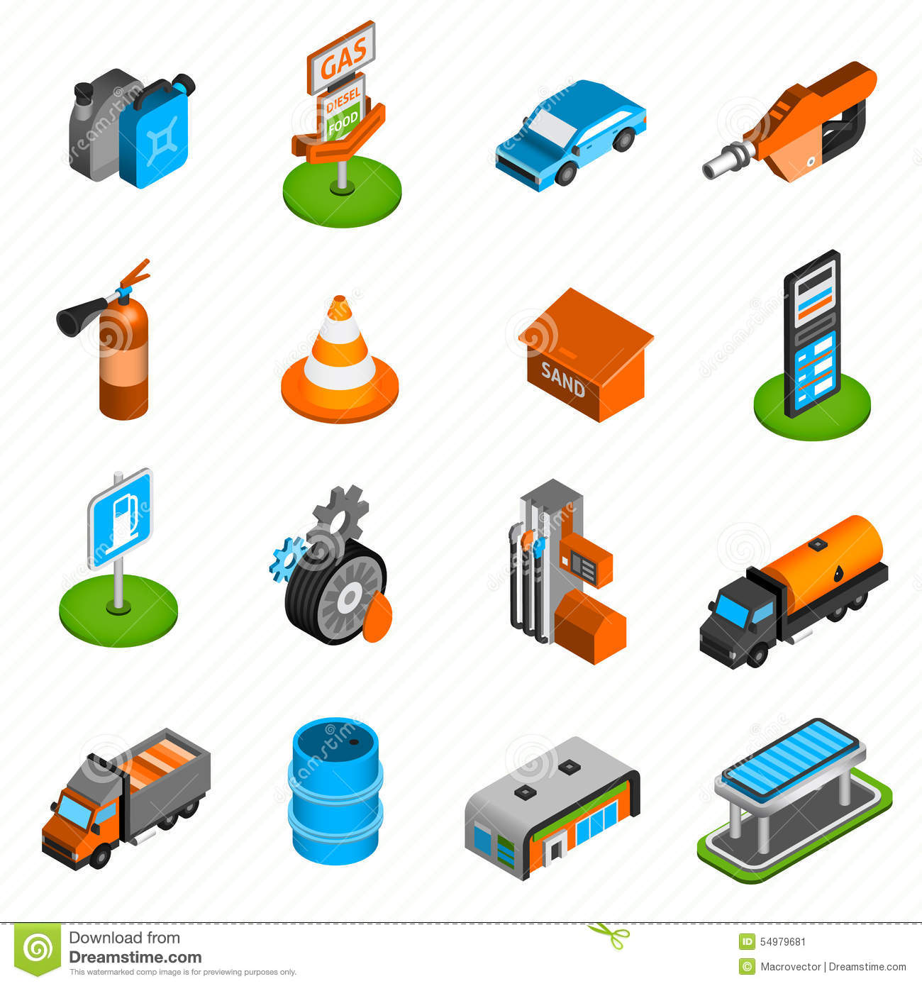 Decorative Fire Extinguisher Gas Station Elements Isometric Icons Stock Vector Image