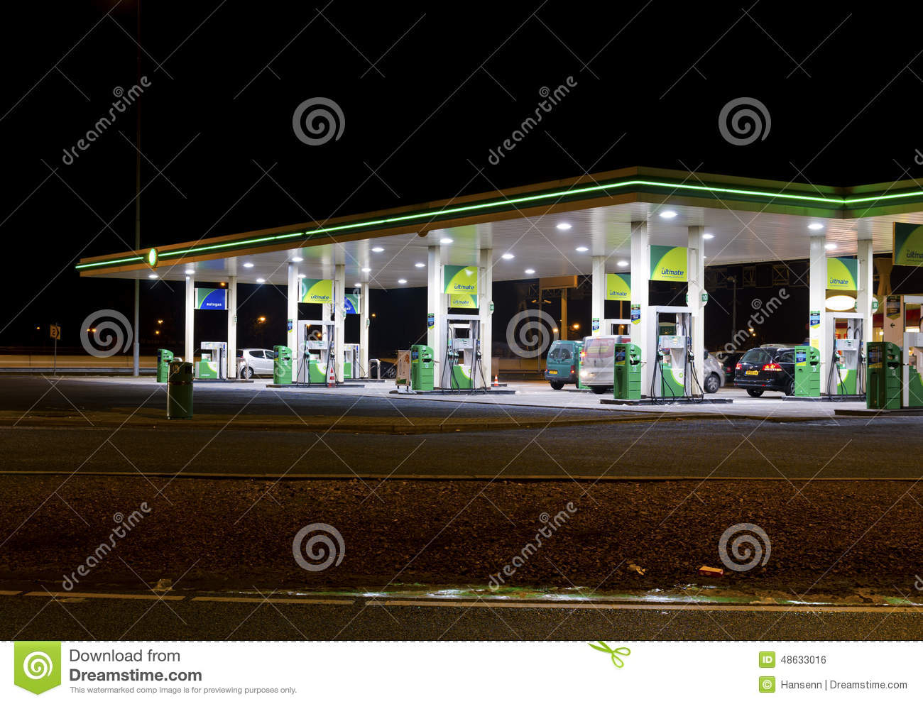 Gas station at night editorial photo  Image of petrol - 48633016