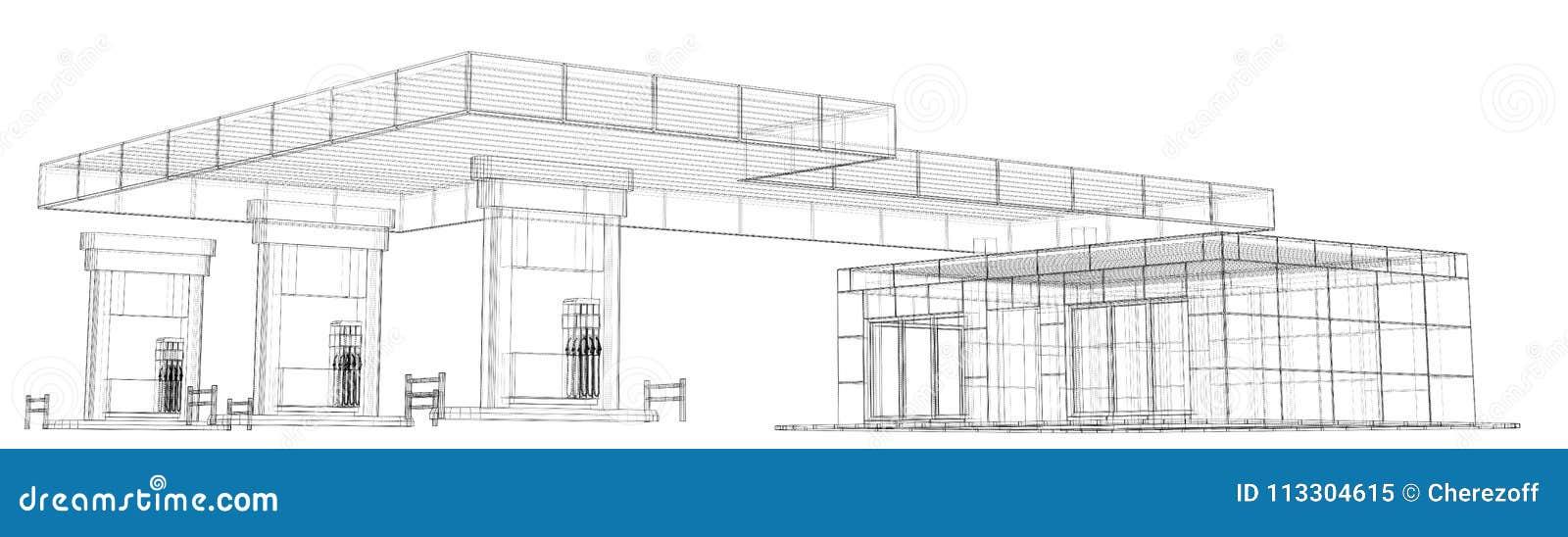 Gas Station. Wire frame stock illustration. Illustration of ...
