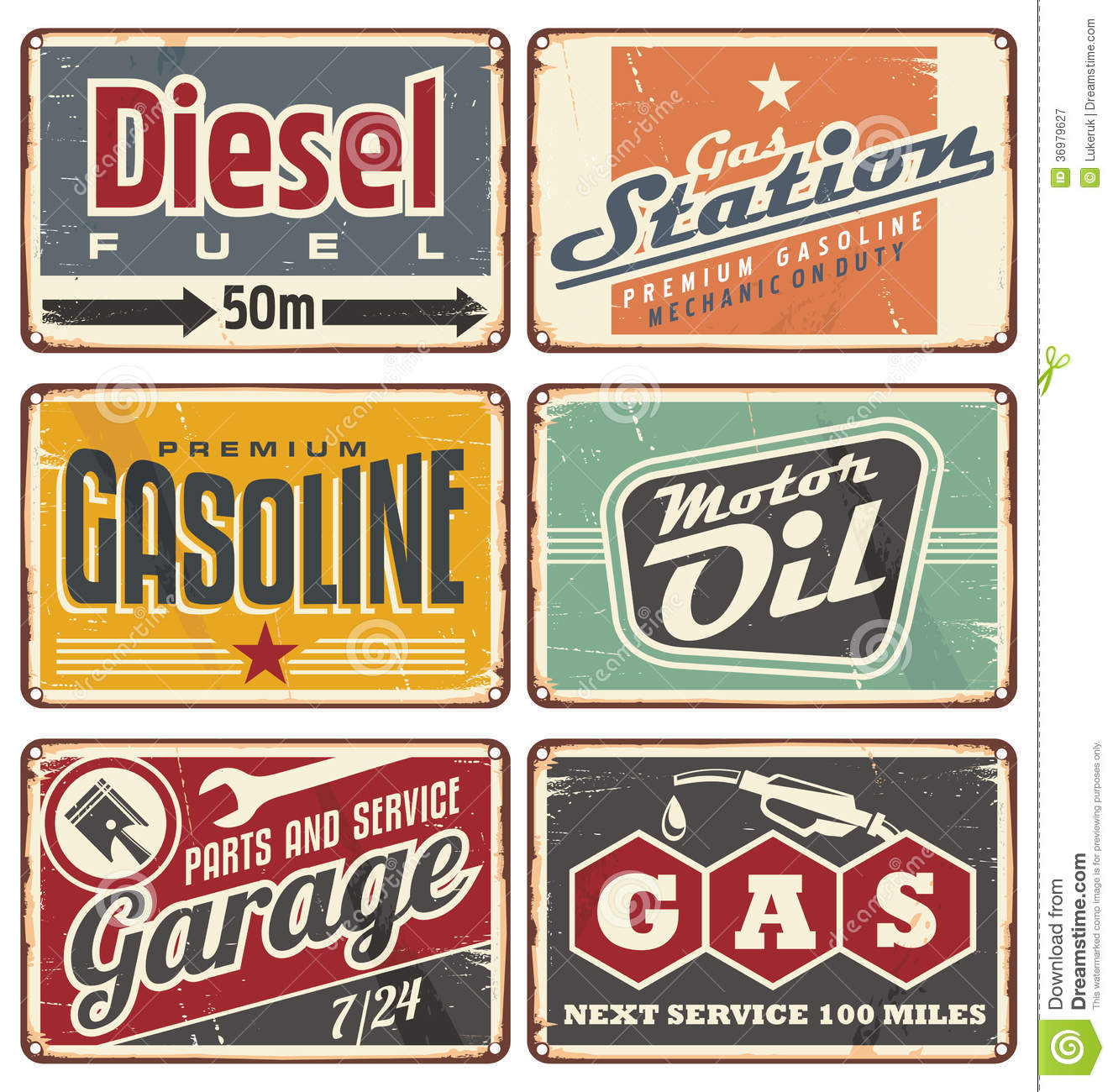 Gas Stations And Car Service Vintage Tin Signs Stock Vector ...