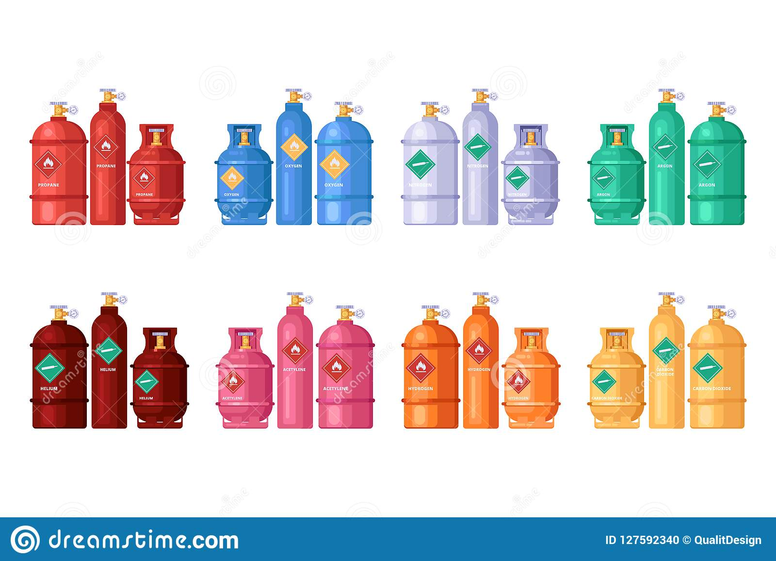 Gas Storage, Cylinder Containers Set  Vector Flat