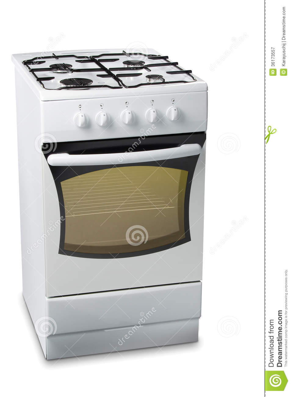 Gas Stove With Light In Oven Royalty Free Stock