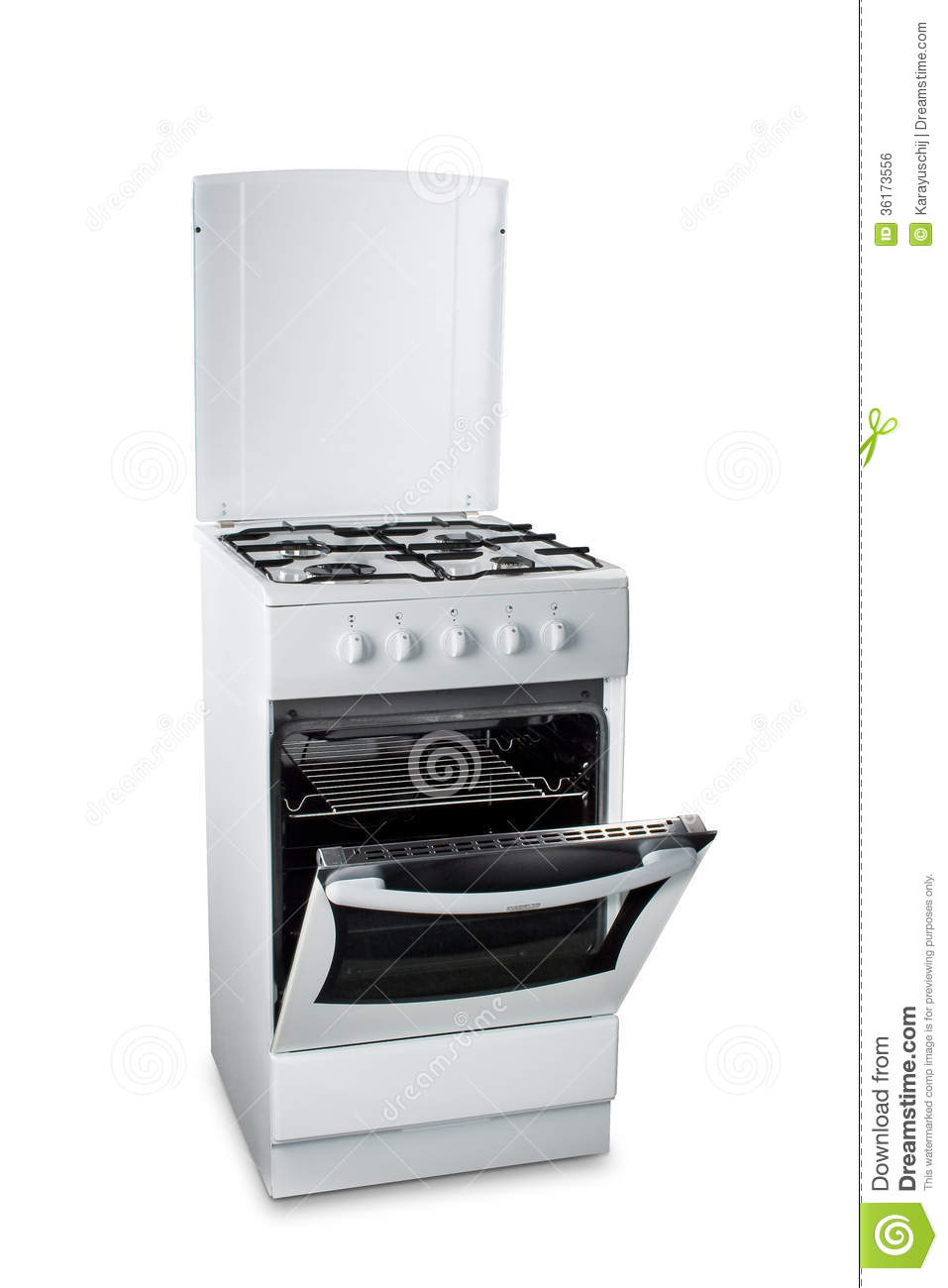 Gas Stove With Open Oven Royalty Free Stock Image - Image ...