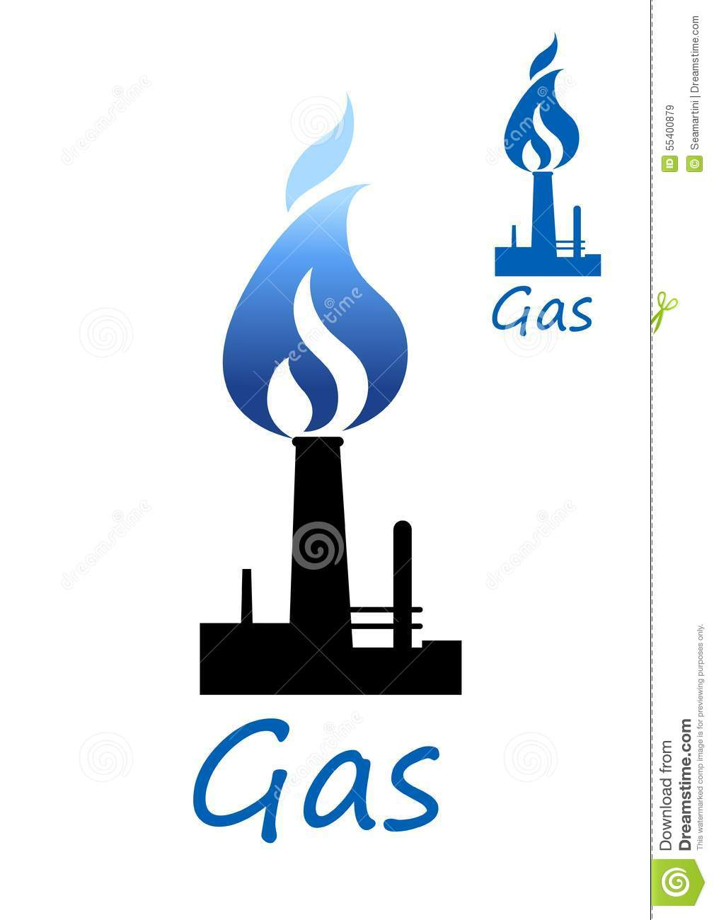 gas symbol with pipe and blue flame stock vector image