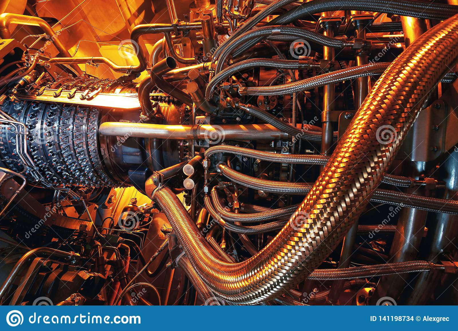 Gas turbine engine located inside the aircraft. Clean energy in a power plant used on an offshore oil and gas refining central