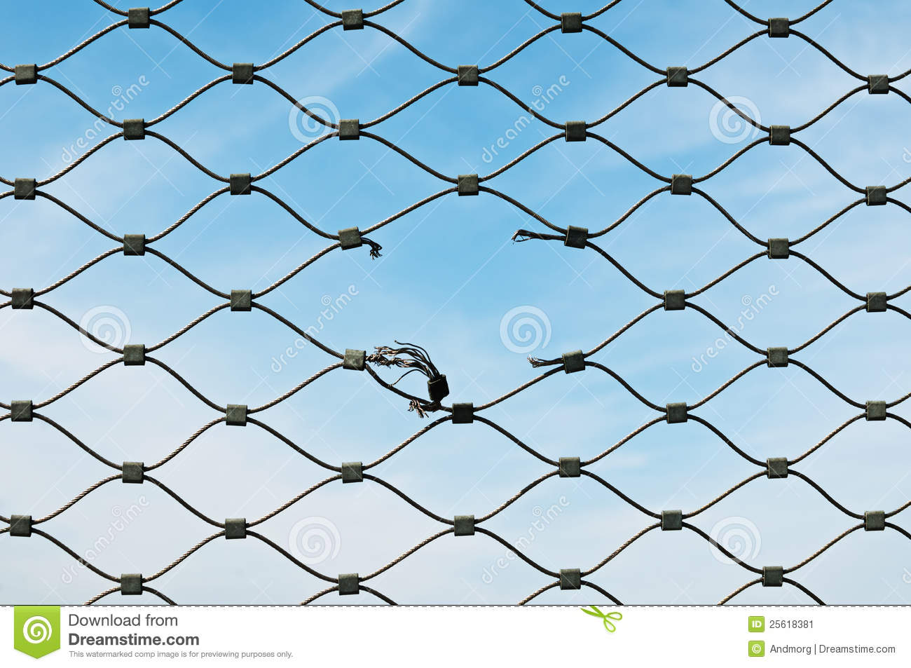 Gash on wire mesh stock image. Image of connection, high - 25618381